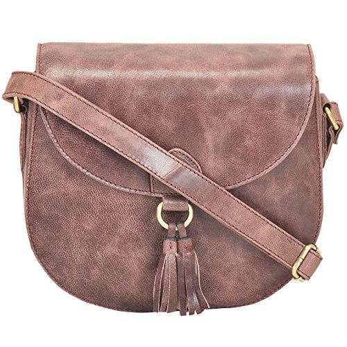 Leather Saddle Bag Cross Body Handmade Purse With Adjustable Shoulder Strap For Women