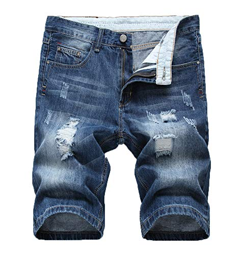 - Atditama Men's Casual Summer Cotton Regular Bermuda Denim Shorts Blue 30