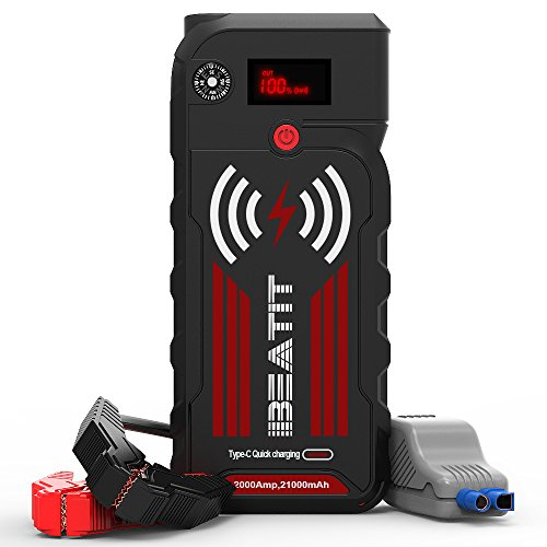 Beatit G18 PRO QDSP Wireless Charger 2000A Gas and 8.0L Diesel Peak 21000mAh 12V Portable Car Jump Starter Auto Battery Booster with Smart Jumper Cables
