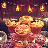Kanodan Halloween String Lights Pumpkin/Bat/ Eyeball Patterns 20/30 LED Battery Operated (Pumpkin Warm White, 9.84)