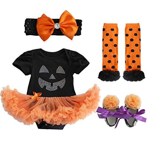 iiniim Baby Girl's Halloween Tutu Romper Outfit with Headband Leg Warmer and Shoes Facial Expression Tutu Romper 3-6 Months -