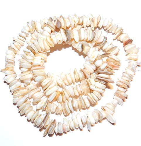 - Creamy White Natural 10mm Flat Chip Mother of Pearl Shell Beads 35#ID-4294