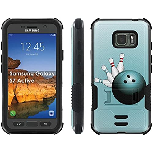 AT&T [Galaxy S7 Active] Combat Case [ArmorXtreme] [Black/Black] Hybrid Tough [Kick Stand] - [Bowling] for Samsung Galaxy [S7 Active] Sales