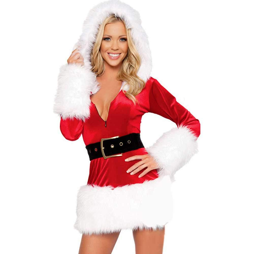 Clearance! Women Mrs. Claus Costume Santa Cosplay Xmas Costume Hooded Plush Lingerie Babydoll