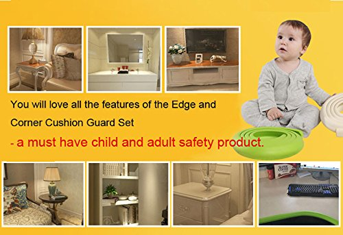 ISOTO Edge and Corner Guards Set Baby Toddler Child 5M/16.5ft L-Type Soft Cushion Strip + 4 Corner Safety Glass Table Home Protector Protection Protictive (Brown, L Shape) by ISOTO (Image #4)