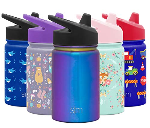 Simple Modern Kids Summit Sippy Cup Thermos 10oz - Stainless Steel Toddler Water Bottle Vacuum Insulated Girls and Boys Hydro Travel Cup Flask Prism Purple