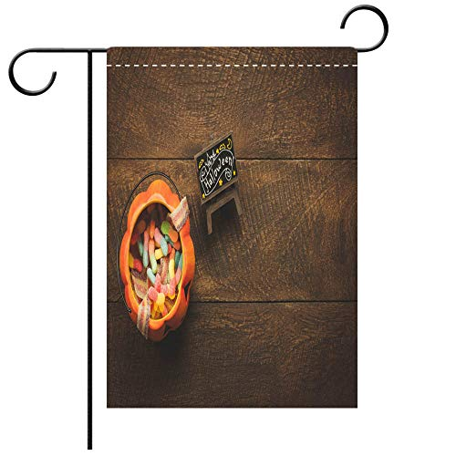 Artistically Designed Yard Flags, Double Sided Aerial view of accessory decoration Happy Halloween festival background conceptMix Decorative Deck, patio, Porch, Balcony Backyard, Garden or Lawn ()