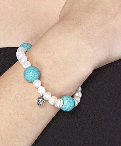 Alexandra plata-Bracelet élastique de perles cultivées et turquoise avec ruban et charm Logo Alexandra Plata en argent de la loi 0925