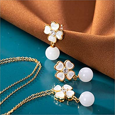 FUKAI Simple Feo Ópalo Trébol Conjuntos De Joyas para Mujeres Naturaleza Jade Bolas Colgantes + Cadenas Reales 925 Plata Floral Collares + Pendientes