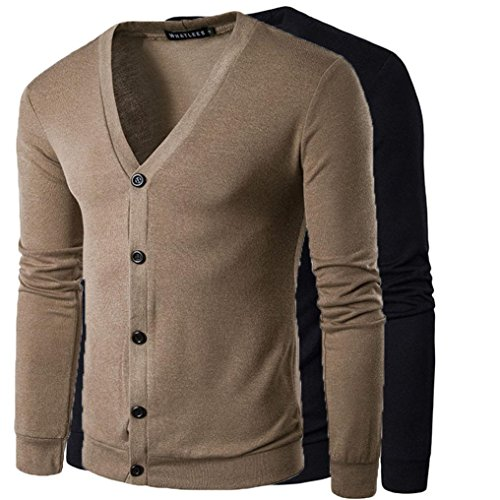 Mens Coat,Haoricu Autumn Winter Men Boys V Neck Long Sleeve Button Knit Sweater Cardigan Coat Tops