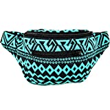 Native Tribal Aztec Party Fanny Pack, Stylish Party Boho Chic Handmade w/Hidden Pocket (Tulum Spring)
