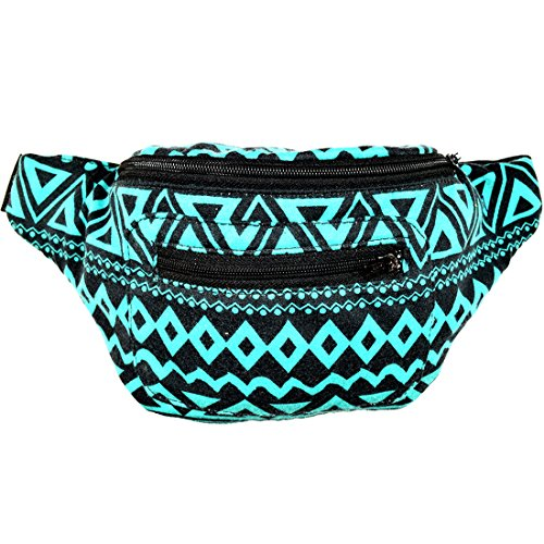 Native Tribal Aztec Party Fanny Pack, Stylish Party Boho Chic Handmade w/Hidden Pocket (Tulum Spring) by Santa Playa