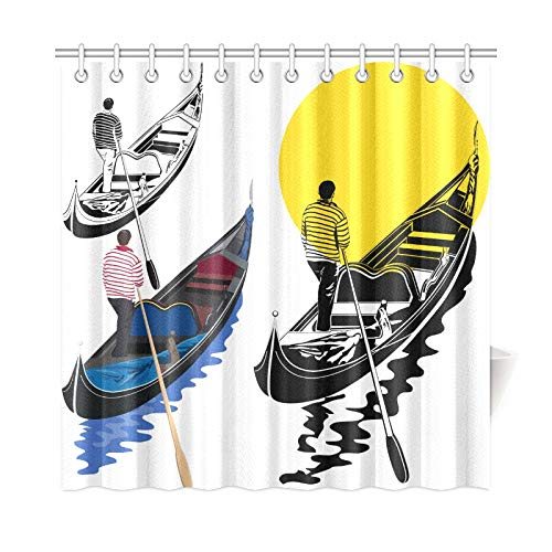 VNASKL Home Decor Shower Curtain Venetian Gondolier On White Polyester Fabric Waterproof Curtain for Bathroom for Bathroom 7272 Inch with Hooks ()