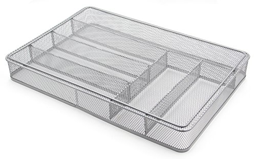 ESYLIFE Large Cutlery Storage Flatware Tray, 6 Compartments, Silver