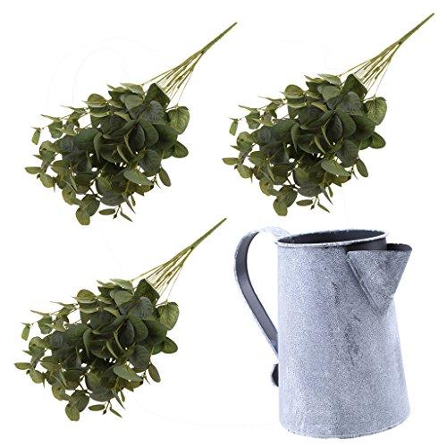 Fenteer 3 Pieces Silk Plastic Artificial Eucalyptus Leaves Branches + Rustic Metal Flower Vases Jugs Pitcher Home Decor