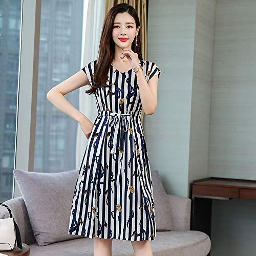 Woman Dress VNeck Slim Summer Loose Waist Large Size Silk ShortSleeved Striped Silk Dress Female