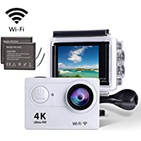 YELIN 4K25fps WIFI Sports Action Camera Pocket Camera Ultra HD IP68 Waterproof Camcorder 12MP 170 Degree Angle SONY Lens With 2 LCD Screen 2pcs Rechargeable Li-ion Batteries and 19pcs Accessories