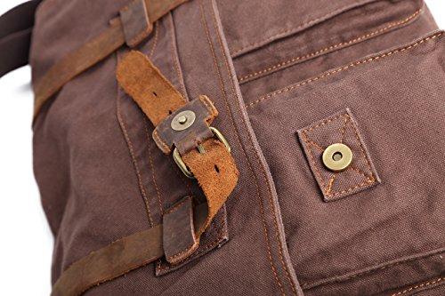 sulandy @ nuevo estilo Vintage lienzo grande Unisex Messenger bolso bandolera de piel Trim escuela Militar bolsa de hombro bolso bandolera, army green 44, large - café