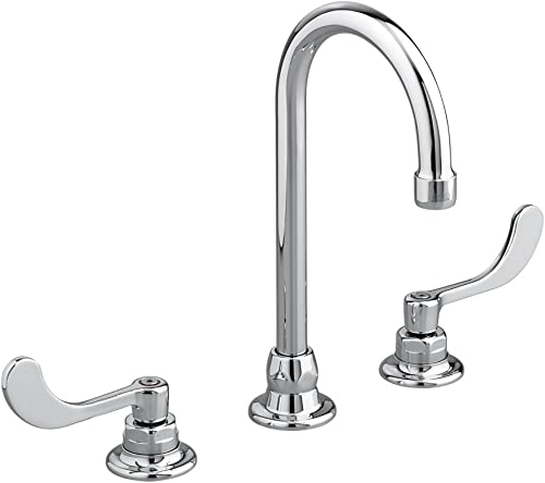 American Standard 6540.170.002 Monterrey Widespread 1.5 Gpm Gooseneck Faucet with VR Wrist Blace Handles Less Drain, Polished Chrome