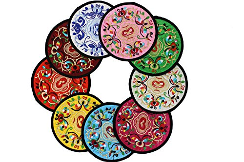 Special Pattern Embroidered Beverage Coasters, Set of 9