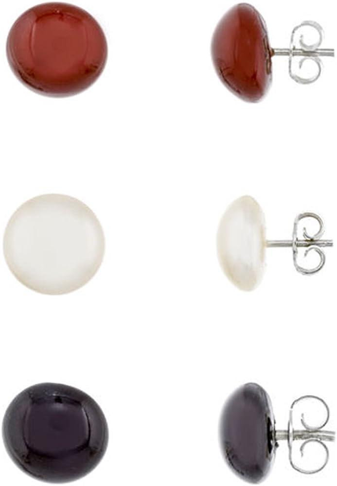 Córdoba Jewels |set 3 pendientes de plata de Ley 925 y perlas. Diseño Trio Media Perla