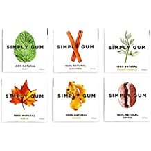 Simply Gum, Assorted Natural Chewing Gum, 6 Packs, 90 Pieces (Mint, Cinnamon, Ginger, Fennel, Maple, Coffee), Non gmo, Vegan