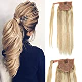LaaVoo 14' One piece Human Hair Ponytail Extensions Highlight Color #18 Ash Blonde and #613 Bleach Blonde Highlighted Straight Real Human Hair Extensions 70 Grams