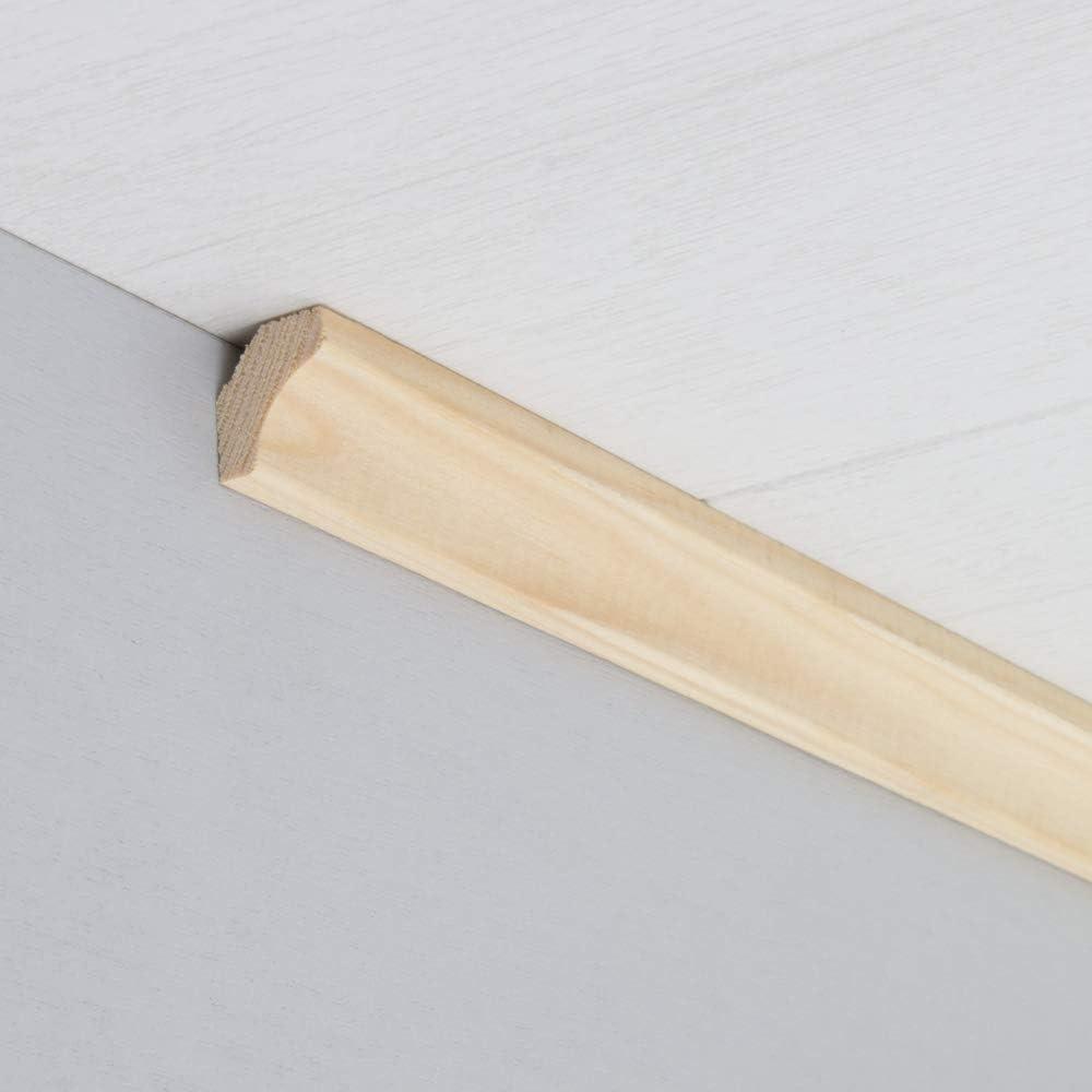 Hohlkehlleiste Abschlussleiste Abdeckleiste aus unbehandeltem Kiefer-Massivholz 2400 x 16 x 18 mm