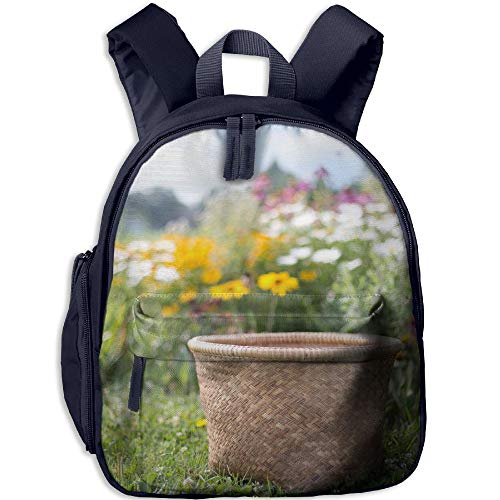 Toddler School Bag Flower Wood Floor Design Material Flower Natural Background Material Design Shoulder Bag Navy