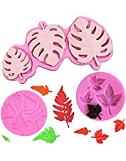 Flunyina Leaves Silicone Mold Set 3D Mini Maple Palm Tropical Leaf Maple Fern Leaves Shaped Leaves DIY Cake Mold Hot Summer Cupcake Decoration Chocolate Cookies Bakeware Baking Resin Polymer Clay Soap Candles, Set of 3