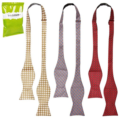 Bundle Monster 3pc Mens Fashion Accessory Adjustable Length Self Tied Necktie Bow Ties - Looking Sharp