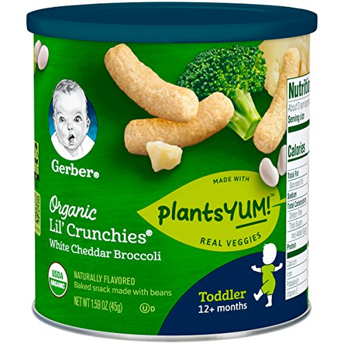 Gerber Organic Lil' Crunches Baked Corn Snack White Cheddar & Broccoli (Pack of 6) ()