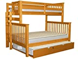 Bedz King Bunk Beds Twin over Full Mission Style with End Ladder and a Full Trundle, Honey