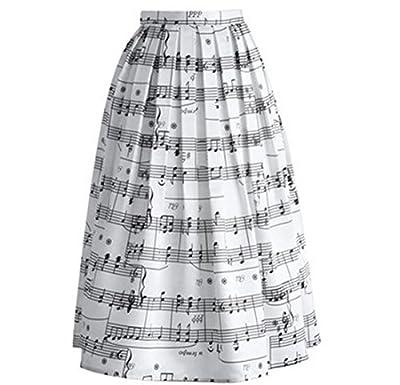 MF@ Women's Pleated Vintage Skirts Floral Print Sakura Skater Pleated A-line Skirt