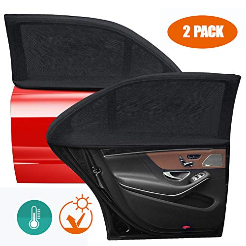 (MOCHUAN Car Window Shades for Baby, Car Rear Side Window Sun Shades, Breathable Mesh [Universal Fit 95% Cars, Elastic Net, Protect Kids Pet from The Sun] for Most Cars and SUV - 2 Pack)