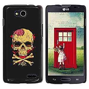 Paccase / SLIM PC / Aliminium Casa Carcasa Funda Case Cover - Skull Brains Yellow Black Crossbones - LG OPTIMUS L90 / D415