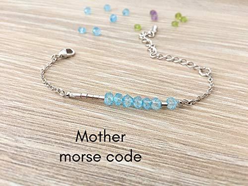 Saananda - Blue topaz or custom birthstone Morse code bracelet