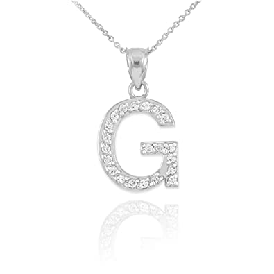 fine 14k white gold diamond initial letter g pendant necklace 16