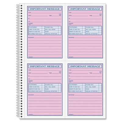Adams Business Forms Products - Message Book, Spiral Bound, 2-Part Carbonless, White/Canary - Sold as 1 EA - Spiralbound Message Book offers two-part carbonless message slips (part one white with pink; part two canary). Contains 50 pages with four message by Adams Business Forms