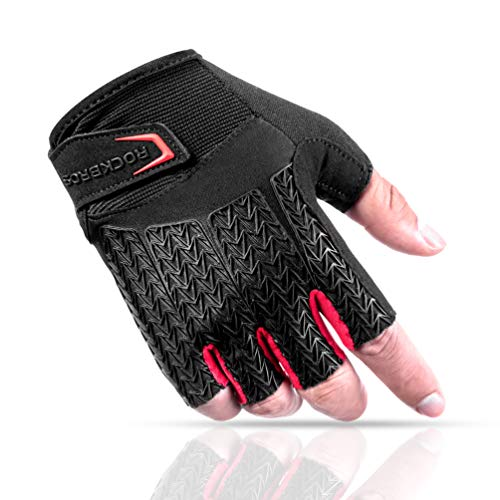 ROCK BROS Road Cycling Gloves for Men Women Commuter Gloves Half Finger Biking Gloves with Gel Padded Shock Absorbing, Breathable Anti Slip Road Bike Gloves for Summer Bicycling Riding Red -M