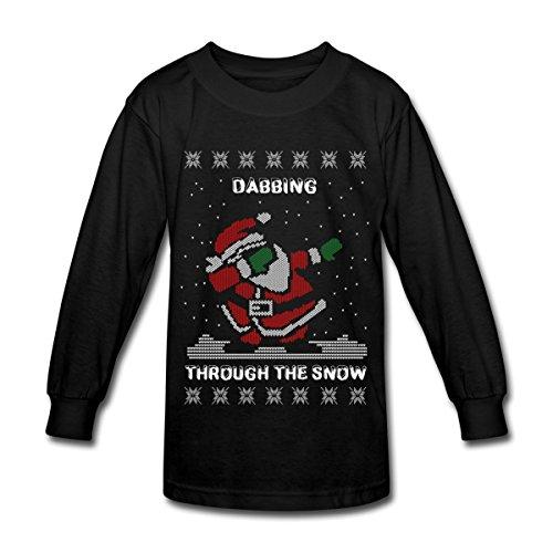 Spreadshirt DAB Santa Dabbing Ugly Christmas Sweater Kids' Long Sleeve T-Shirt, L, Black