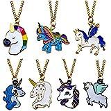Rainbow Unicorn Necklace,Unicorn Party Favors,Unicorn Pendant for Girls,Fashion Necklace Birthday Gift - (Set of 7)
