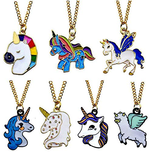 (Set of 7) Rainbow Unicorn Necklace ()