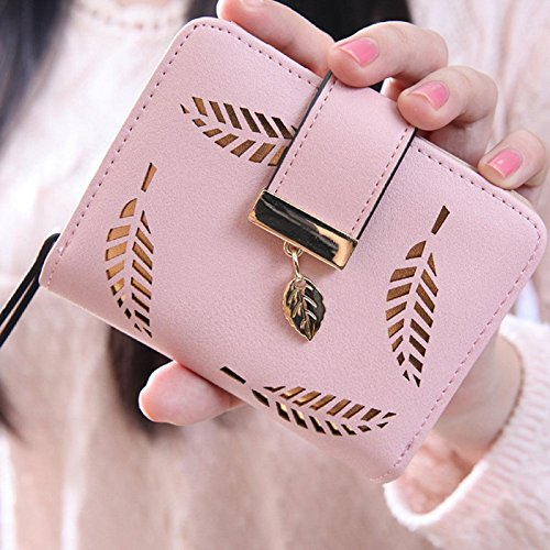 Owill Women Girls Leaf Bifold Leather Clutch Wallet Simple Pretty Design For Lovely Life (A, Pink)