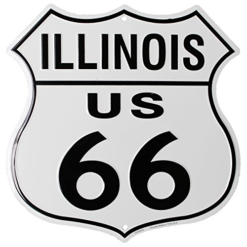 Flagline Route 66 (Illinois) - 11.5 in x 11.5 in Aluminum Highway Shield