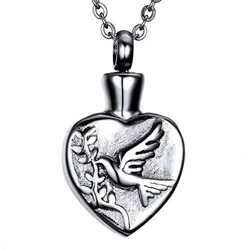 VALYRIA Cremation Jewelry Stainless Steel Retro Engraved Peace Dove Heart Urn Pendant Necklace
