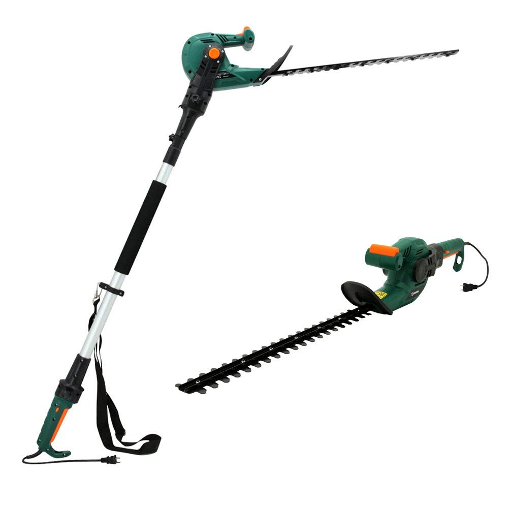 DOEWORKS Electric Corded 3 in 1 Extended Hedge Trimmer on Pole with Rotating Handle, 20'' Dual-Action Steel Blade