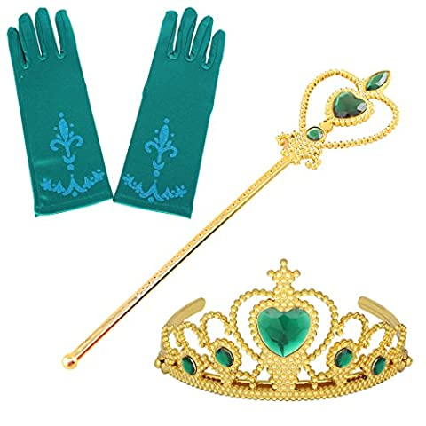 Fanryn Kids Girls Dress Up Party Costume Accessories,Full Finger Satin Gloves Tiara Crown Wand Scepter Set for Princess - Princess Crown Water