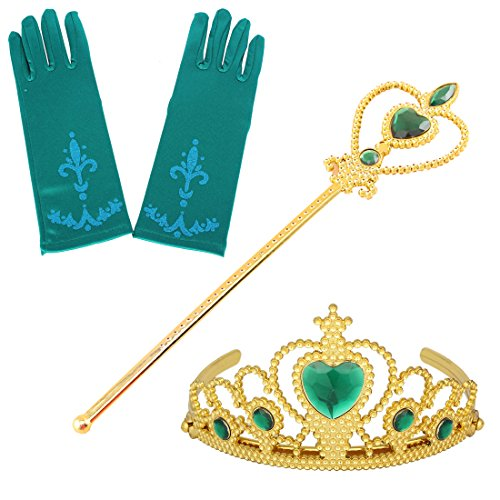 Fanryn Kids Girls Dress Up Party Costume Accessories,Full Finger Satin Gloves Tiara Crown Wand Scepter Set for Princess (Thousand Hands Costume)