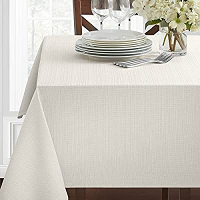 Benson Mills Cameron Tablecloth (60 X 120, White) - Cotton rich in top Quality material! Contemporary pattern tablecloth, available in additional colors and sizes Creates a wonderful and luxurious setting for your family and friends to enjoy together - tablecloths, kitchen-dining-room-table-linens, kitchen-dining-room - 51t2WVD3xKL. SS400  -